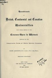 Cover of: Handbook of British, continental and Canadian universities