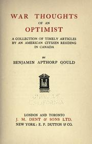 Cover of: War thoughts of an optimist