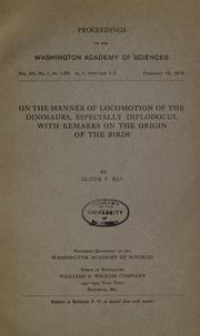 Cover of: ... On the manner of locomotion of the dinosaurs