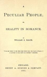 Cover of: A peculiar people | William Stevens Balch