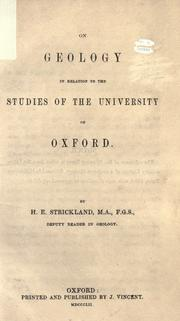 Cover of: On geology in relation to the studies of the University of Oxford |