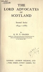 Cover of: The lord advocates of Scotland