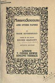 Cover of: Miriam's schooling and other papers
