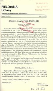 Cover of: Studies in American plants, III