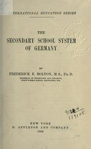 Cover of: The secondary school system of Germany