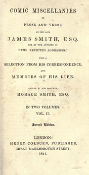 Cover of: Comic miscellanies in prose and verse, with a selection from his correspondence and memoirs of his life