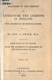 Cover of: Sketches of the history of literature and learning in England, with specimens of the principal writers