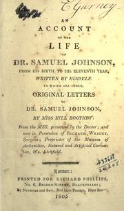Cover of: An account of the life of Dr. Samuel Johnson from his birth to his eleventh year