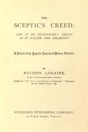 Cover of: The sceptic's creed