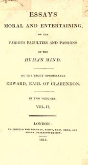 Cover of: Essays, moral and entertaining on the various faculties and passions of the human mind
