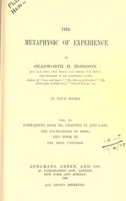 Cover of: The metaphysic of experience
