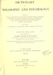 Cover of: Dictionary of philosophy and psychology