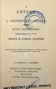 Cover of: A letter to a Protestant friend, on the Holy Scriptures