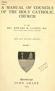 Cover of: A manual of councils of the holy Catholic Church