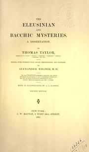 The Eleusinian and Bacchic mysteries by Taylor, Thomas