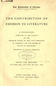 Cover of: contribution of Emerson to literature | David Lee Maulsby