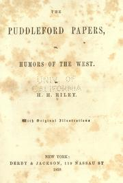 Cover of: The Puddleford papers |
