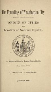 Cover of: The founding of Washington City