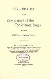 Cover of: Civil history of the government of the Confederate States
