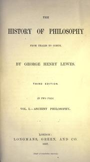 Cover of: The history of philosophy from Thales to Comte