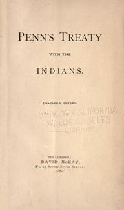 Cover of: Penn's treaty with the Indians |