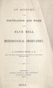 Cover of: An account of the foundation and work of the Blue Hill Meteorological Observatory