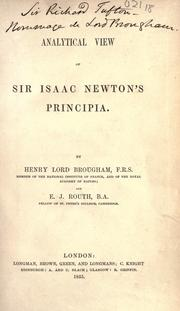 Cover of: Analytical view of Sir Isaac Newton's Principia