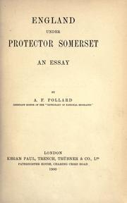 Cover of: England under Protector Somerset