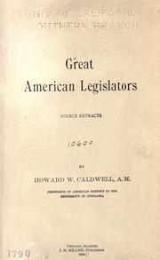 Cover of: Great American legislators