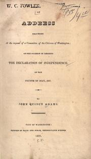 Cover of: An address delivered at the request of a committe of the citizens of Washington