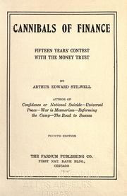 Cover of: Cannibals of finance | Arthur Edward Stilwell