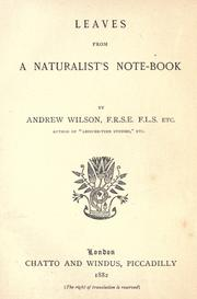 Cover of: Leaves from a naturalist's note-book