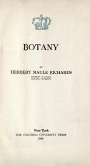 Cover of: Botany | Herbert M. Richards