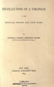 Cover of: Recollections of a Virginian in the Mexican, Indian, and civil wars