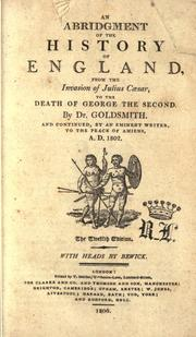 Cover of: An abridgement of the history of England by Goldsmith, Oliver