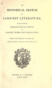 Cover of: An historical sketch of Sanscrit literature