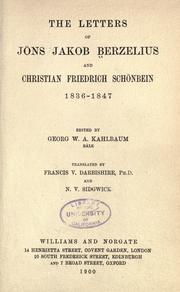Cover of: The letters of Jöns Jakob Berzelius and Christian Friedrich Schönbein, 1836-1847