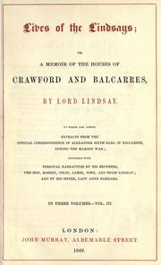 Lives of the Lindsays by Crawford, Alexander Crawford Lindsay Earl of