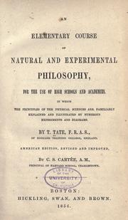 Cover of: elementary course of natural and experimental philosophy ... | Thomas Tate