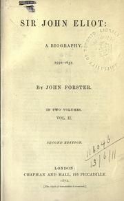 Cover of: Sir John Eliot: a biography 1590-1632