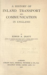 Cover of: A history of inland transport and communication in England |