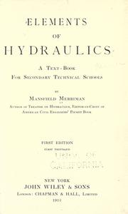 Cover of: Elements of hydraulics