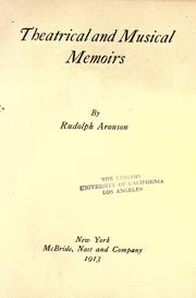 Cover of: Theatrical and musical memoirs