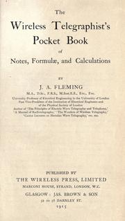 Cover of: The wireless telegraphist's pocket book of notes, formulæ, and calculations