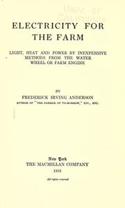 Cover of: Electricity for the farm
