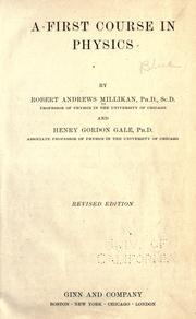 Cover of: A first course in physics