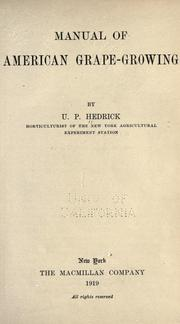 Cover of: Manual of American grape-growing