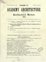 Cover of: Academy architecture and architectural review. by