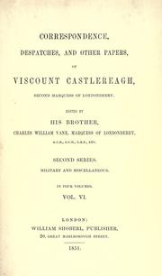 Cover of: Correspondence, despatches, and other papers of Viscount Castlereagh