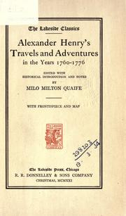 Cover of: Alexander Henry's Travels and adventures in the years 1760-1776 by Henry, Alexander